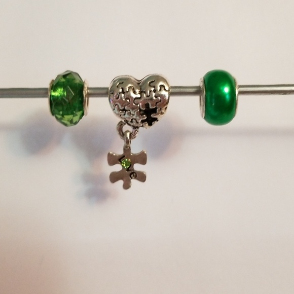 8a0f88415 Kay Jewelers Jewelry | Silver Green Autism Charm Bundle For Pandora ...
